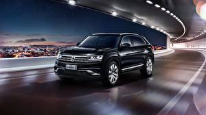 Обои Volkswagen Черная Едущий Кроссовер Atlas 2019 Teramont X Автомобили