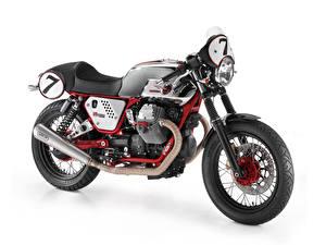 Обои Белый фон Сбоку 2009-10 Moto Guzzi V7 Clubman Racer мотоцикл