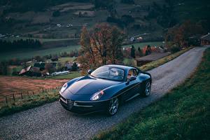 Обои Альфа ромео Синий Металлик 2017 Disco Volante Touring авто