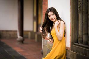 Картинка Азиаты Боке Платье Рука Шатенки Смотрит девушка