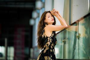 Обои Азиатки Боке Позирует Платья Рука Шатенки Смотрит девушка
