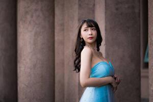 Фотографии Азиатки Боке Поза Руки Платье Девушки