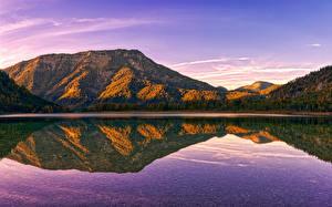 Картинки Австрия Осень Озеро Гора Леса Отражение Politischer Bezirk Gmunden Природа