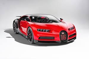 Обои для рабочего стола BUGATTI Красная Металлик Купе Bugatti Chiron, giperkar Автомобили
