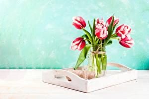 Фотографии Букеты Тюльпаны Ваза Цветы