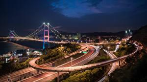 Обои Мост Гонконг Дороги Ночные Tsing Ma Bridge город
