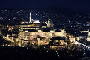 Обои Будапешт Венгрия Замок Ночь Buda Castle город