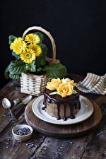 Фото Торты Шоколад Герберы Роза Тарелка Ложки Дизайн