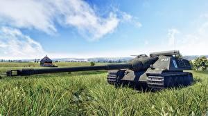 Картинки Пушки War Thunder Самоходка Трава AMX 50 Foch 3D_Графика