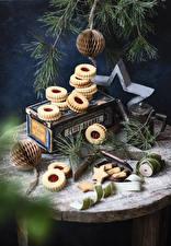 Фотографии Рождество Печенье Ветвь Звездочки