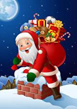 Обои для рабочего стола Рождество Векторная графика Дед Мороз Подарков Униформе Крыше