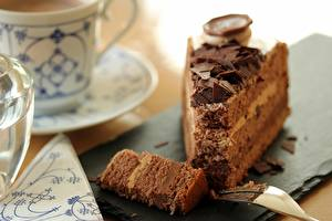 Фотография Вблизи Торты Шоколад Боке Кусок