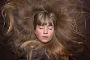 Фотографии Вблизи Лицо Волос Шатенка Девочки Русые ребёнок