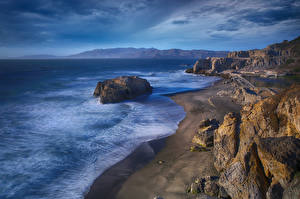 Картинки Берег Штаты Скале Калифорния Point Lobos, Sutro Baths Природа
