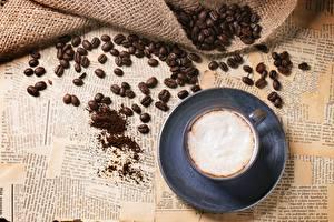 Обои для рабочего стола Кофе Капучино Чашке Зерна Пеной Еда