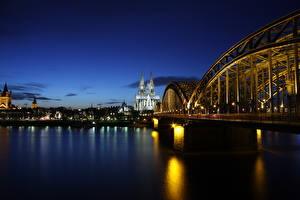 Фотография Кёльн Германия Мост Речка Рассвет и закат Собор Ночные Rhine город
