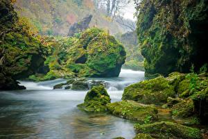 Фотографии Хорватия Речка Камень Утес Мха Korana River Природа