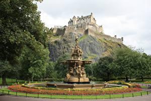 Фото Эдинбург Шотландия Замки Фонтаны Скульптура Edinburgh castle Города