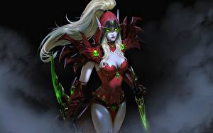 Картинки Эльф Воины Ассасин WoW Блондинки Кинжал Blood Elf Rogue, Valeera компьютерная игра Фэнтези Девушки