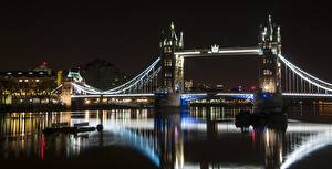 Фото Англия Речка Мост Лондоне Ночные Tower bridge, Thames город