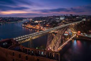Фото Вечер Речка Мосты Портус Кале Португалия Dom Luis Bridge, Douro river Города