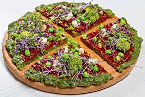 Фото Фастфуд Пицца Овощи Брокколи Горох Разделочной доске Кетчуп