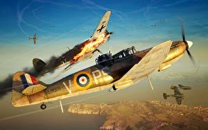 Обои Самолеты Истребители Бомбардировщик Британские Heinkel 111, Boulton Paul Defiant Mk.I, Defiant Mk.I