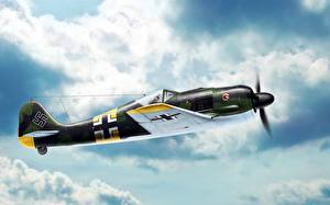 Фотографии Самолеты Истребители Немецкий Fw.190A-4, Focke-Wulf Fw 190 Würger, Jagdgeschwader 54 Grünherz Авиация