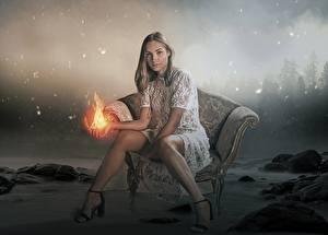 Картинки Огонь Волшебство Кресло Сидя Ног Туфлях Фантастика Девушки