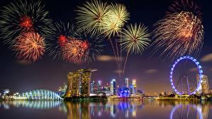 Фотография Фейерверк Сингапур Ночные