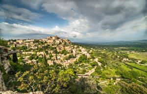 Обои Франция Здания Небо Облачно Gordes, Cote d'Azur, French Riviera город