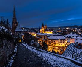Обои Германия Зимние Здания Вечер Ночные Esslingen город