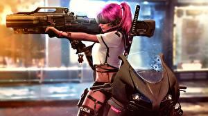 Фотографии Огнестрельное оружие Винтовки Cyberpunk Девушки