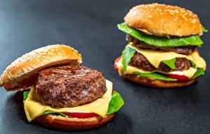 Обои для рабочего стола Гамбургер Котлета Сыры Быстрое питание 2 Пища