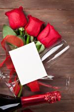 Картинка Праздники Роза Доски Шаблон поздравительной открытки Лист бумаги Красная Бокал цветок