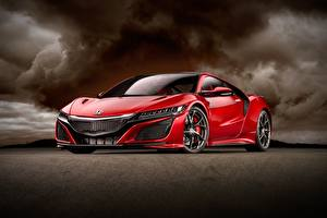 Картинки Хонда Красная Металлик Купе Honda NSX авто