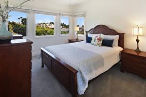Обои для рабочего стола Интерьер Дизайна Спальни Кровать Подушки Лампа