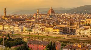 Обои для рабочего стола Италия Тоскана Здания Речка Храм San Niccolo Florence город