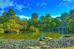 Картинка Япония Парк Пруд Мост Камень HDRI Дерево Kyoto Imperial Palace Природа