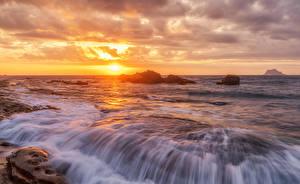 Фото Япония Рассветы и закаты Волны Море Hokkaido