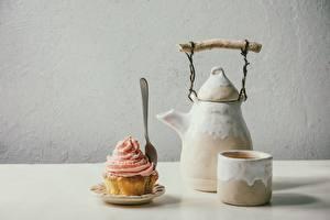 Картинки Чайник Кекс Капкейк кекс Кружка Еда