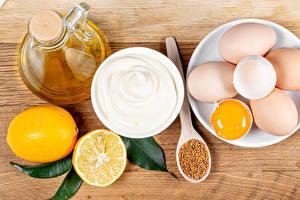 Картинка Лимоны Доски Яйцо Сливками Зерно Масла Пища