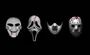 Обои для рабочего стола Маски Крик фильм Пятница 13 Пила На черном фоне Silence of the Lambs, Jason's mask кино