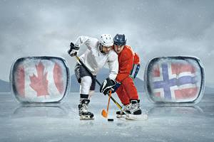 Картинка Мужчины Хоккей 2 Униформе Коньках Катке Шлем спортивная