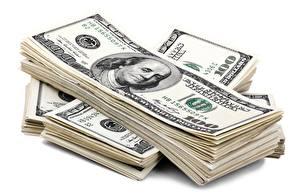 Картинка Деньги Купюры Доллары Белый фон