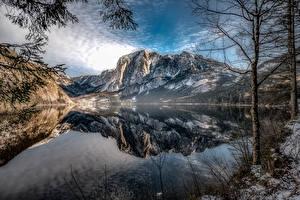 Фотография Гора Озеро Австрия Пейзаж Дерева Отражение Altaussee, Styria Природа