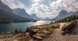 Обои Горы Озеро Штаты Пейзаж Деревья Облака Saint Mary Lake Природа