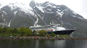 Обои Гора Пирсы Круизный лайнер Норвегия Eidfjord, Rotterdam город