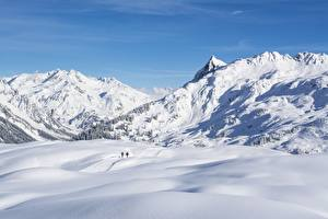 Фотография Горы Зимние Австрия Снег Vorarlberg Природа