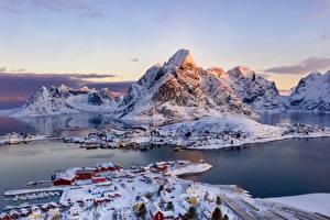 Фотография Норвегия Лофотенские острова Гора Зимние Здания Село Залива